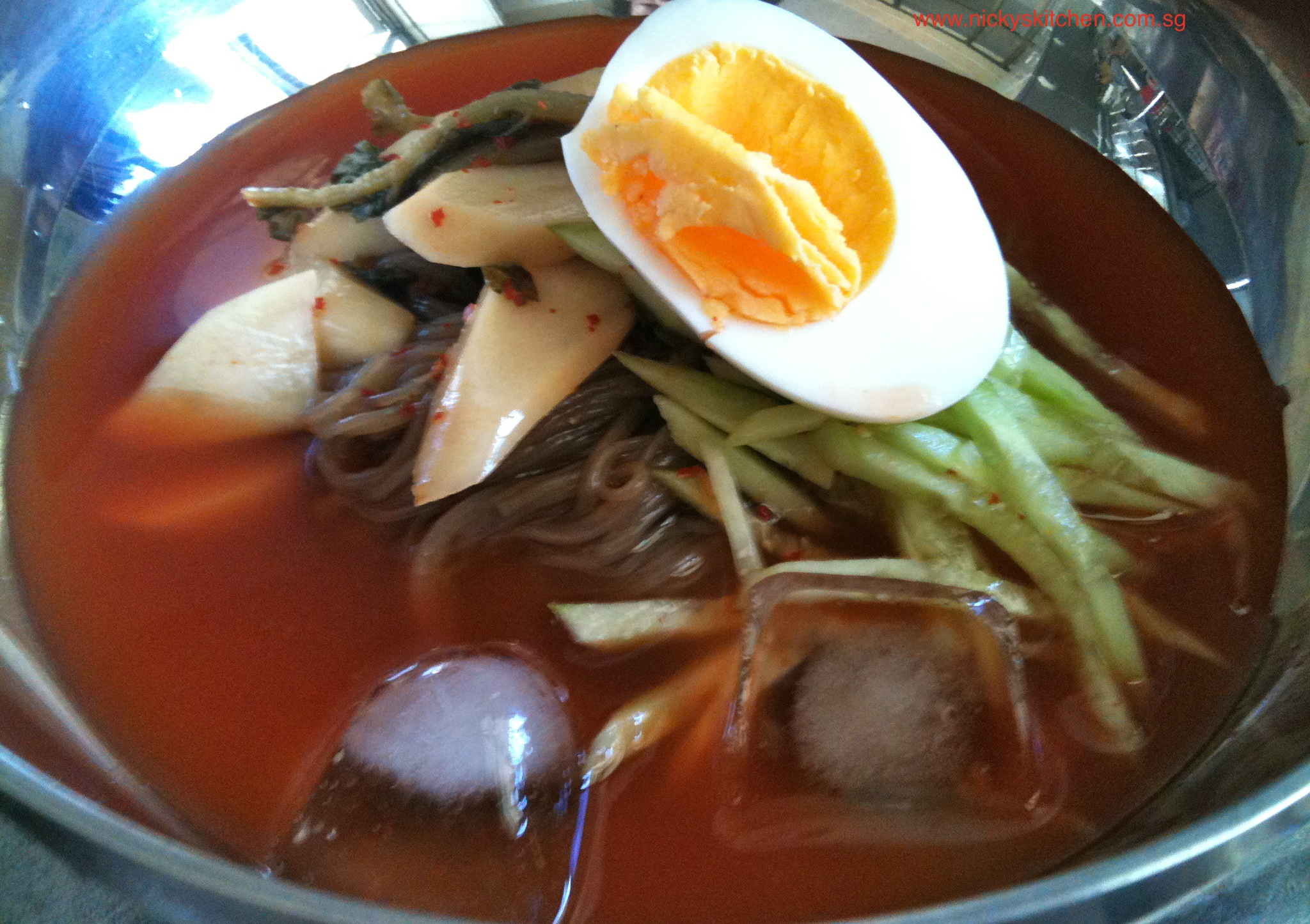 Spicy cold noodle(neng myun) with young radish kimchi!